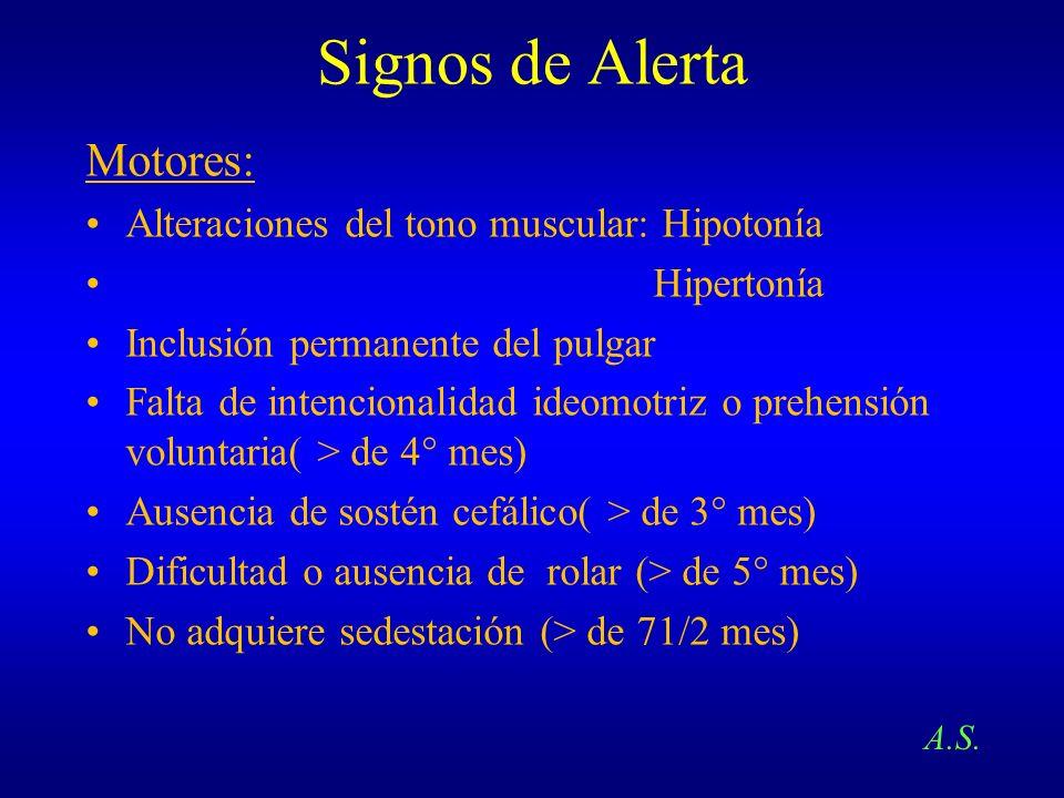 Signos de Alerta Motores: Alteraciones del tono muscular: Hipotonía