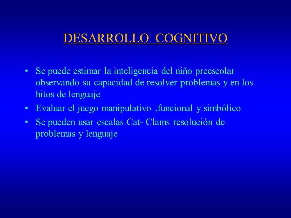 DESARROLLO COGNITIVOSe puede estimar la inteligencia del niño preescolar observando su capacidad de resolver problemas y en los hitos de lenguaje.