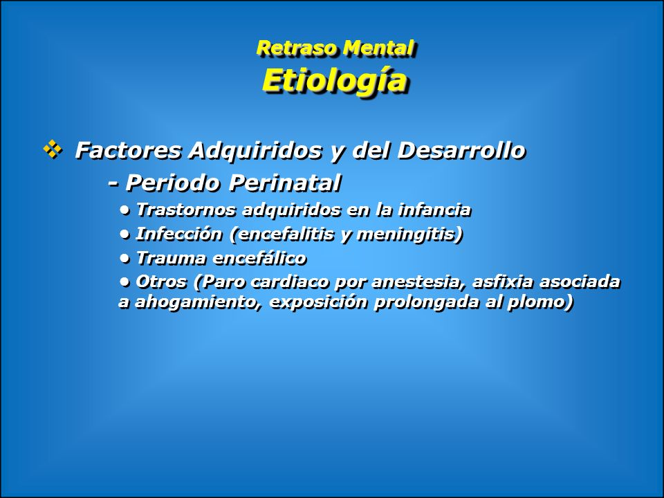 Retraso Mental Etiología