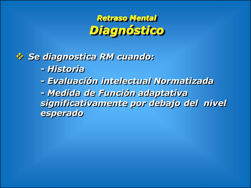 Retraso Mental Diagnóstico