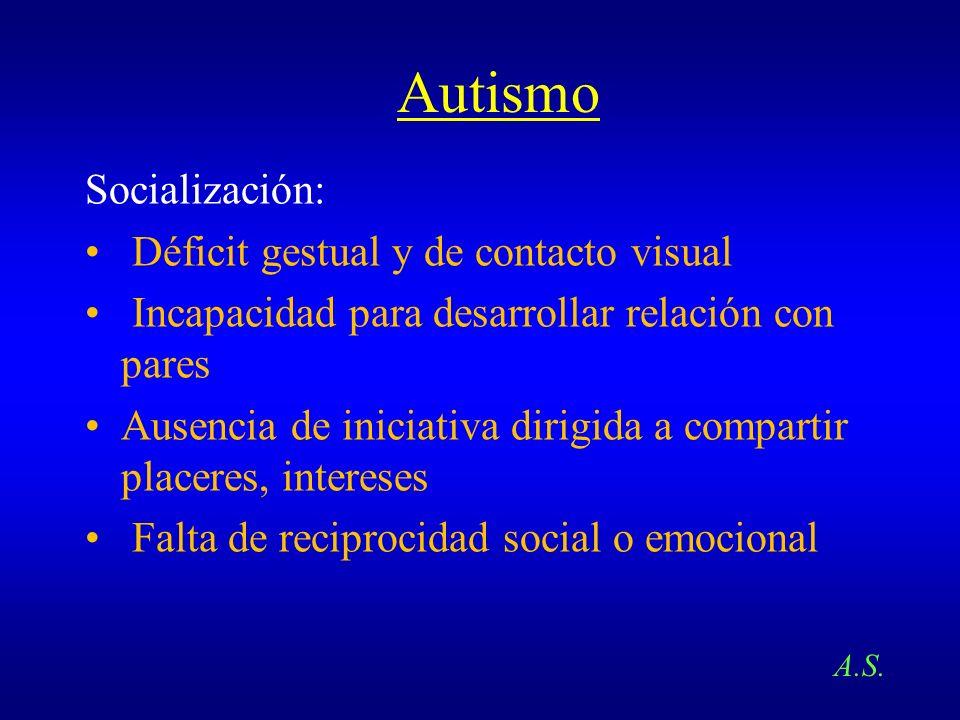 Autismo Socialización: Déficit gestual y de contacto visual