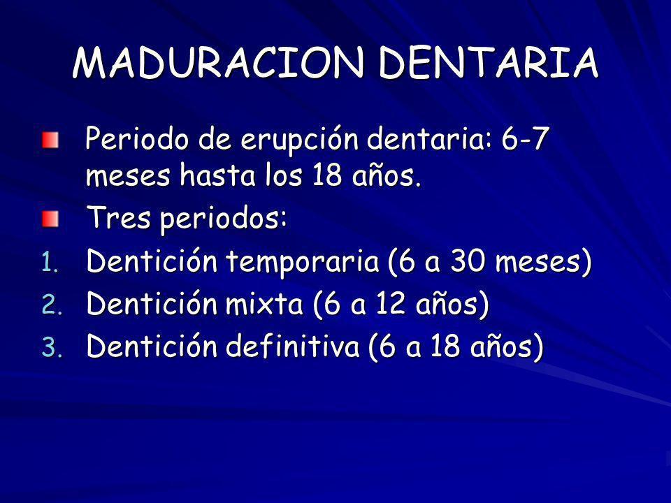 MADURACION DENTARIA Periodo de erupción dentaria: 6-7 meses hasta los 18 años. Tres periodos: Dentición temporaria (6 a 30 meses)