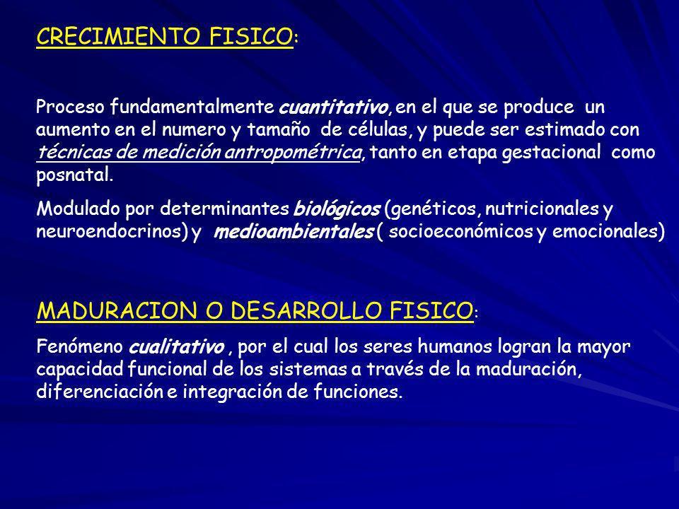 MADURACION O DESARROLLO FISICO: