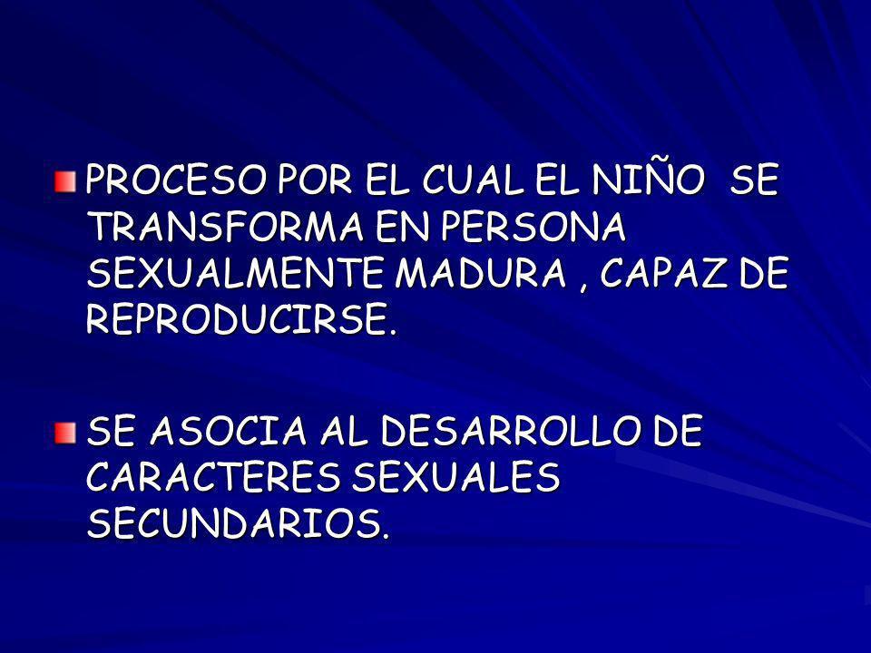 PROCESO POR EL CUAL EL NIÑO SE TRANSFORMA EN PERSONA SEXUALMENTE MADURA , CAPAZ DE REPRODUCIRSE.