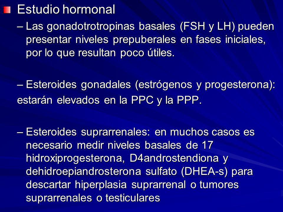 Estudio hormonal Las gonadotrotropinas basales (FSH y LH) pueden presentar niveles prepuberales en fases iniciales, por lo que resultan poco útiles.
