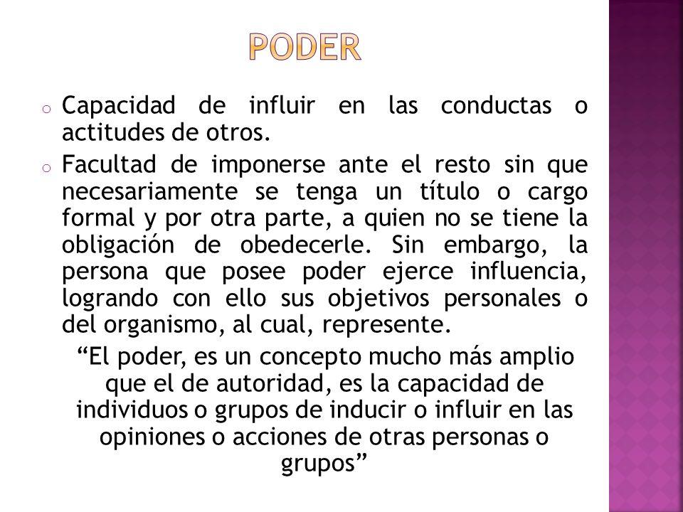 poder Capacidad de influir en las conductas o actitudes de otros.