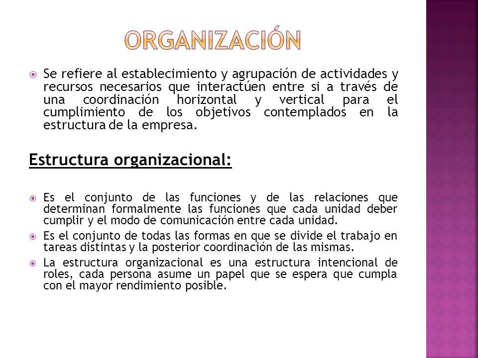 organización Estructura organizacional: