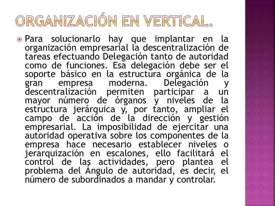 ORGANIZACIÓN EN VERTICAL.