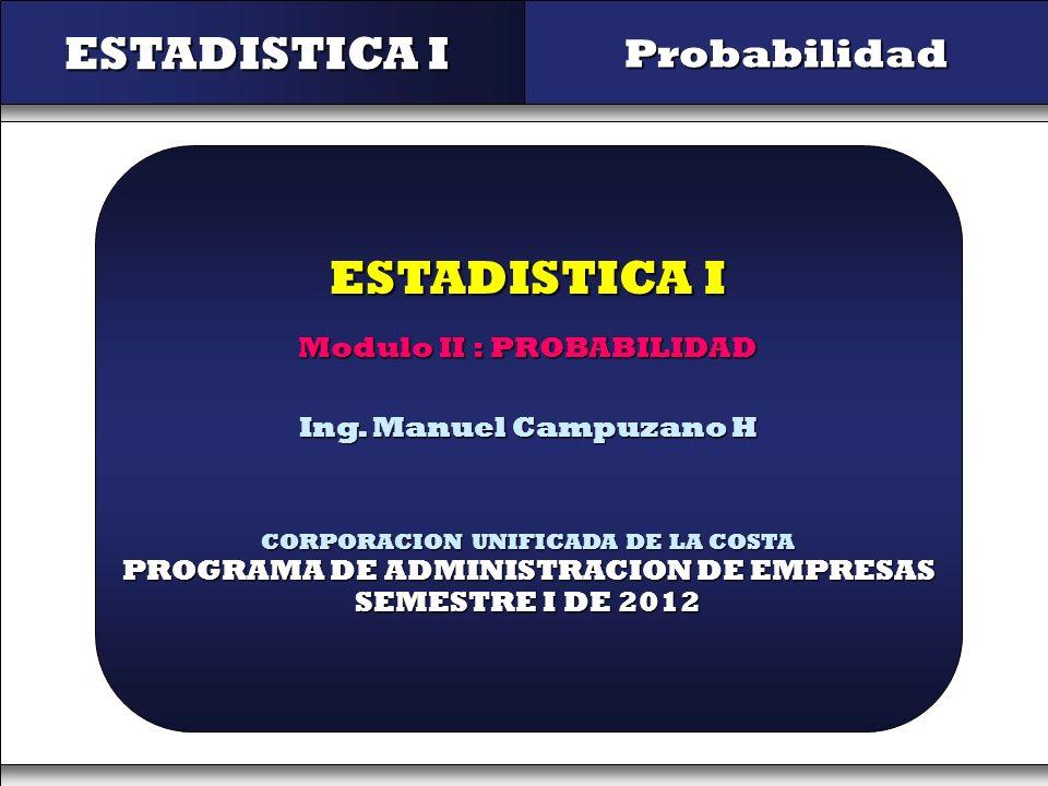 ESTADISTICA I ESTADISTICA I Probabilidad Modulo II : PROBABILIDAD