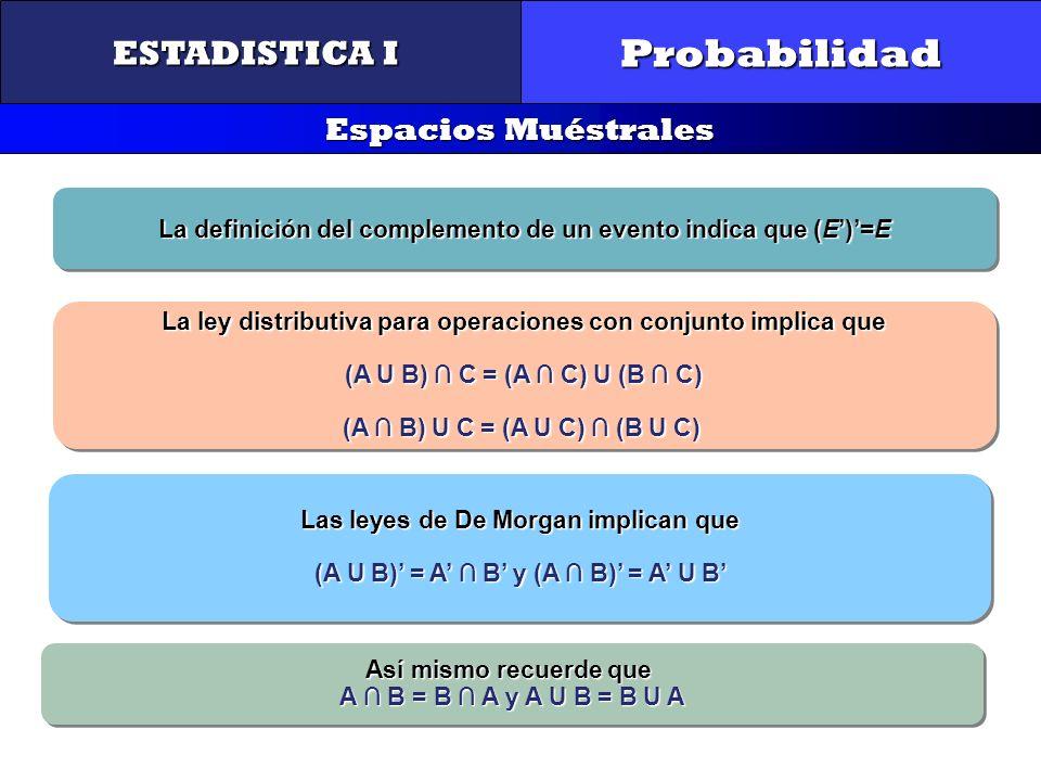 Probabilidad ESTADISTICA I Espacios Muéstrales