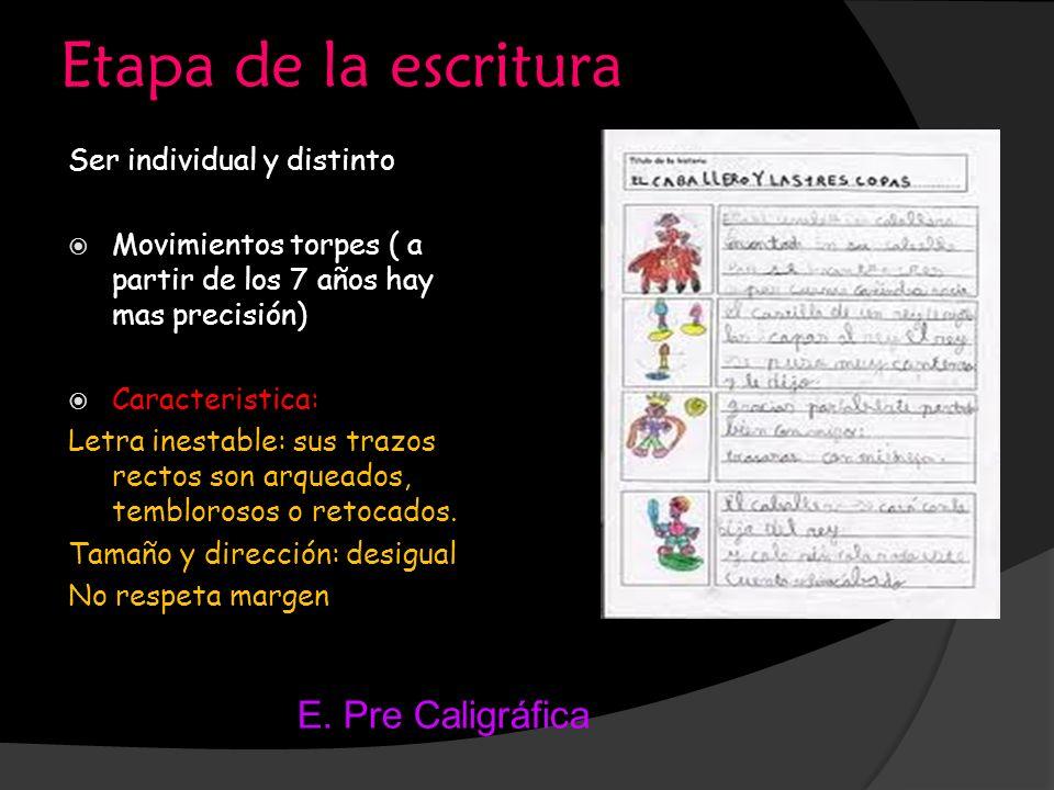 Etapa de la escritura E. Pre Caligráfica Ser individual y distinto