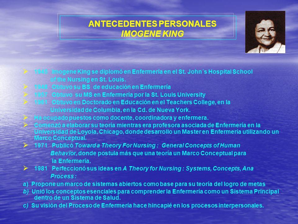 ANTECEDENTES PERSONALES IMOGENE KING