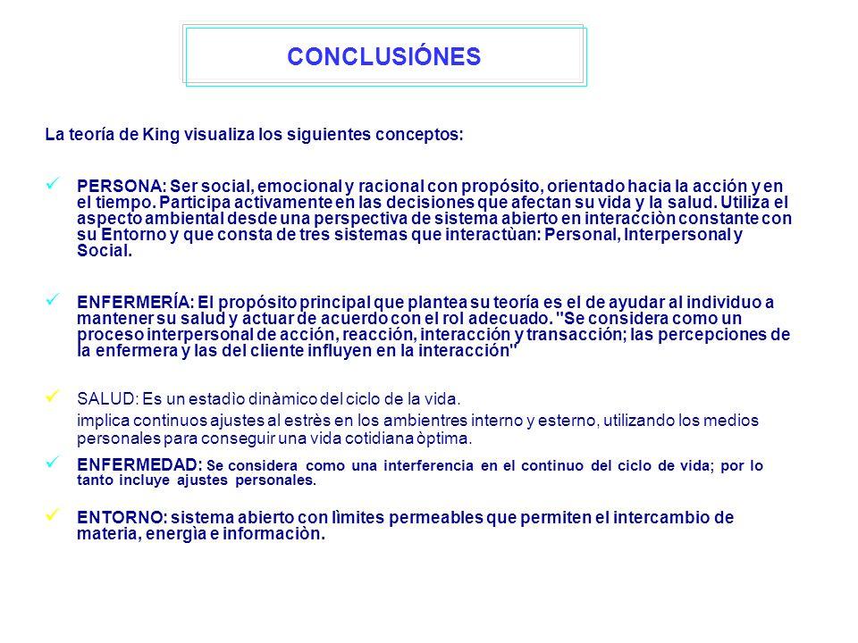 CONCLUSIÓNES La teoría de King visualiza los siguientes conceptos: