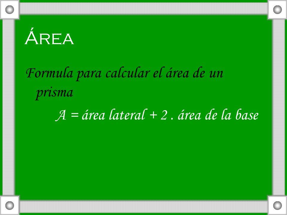 Área Formula para calcular el área de un prisma