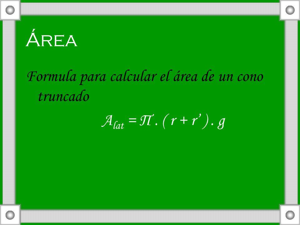Área Formula para calcular el área de un cono truncado