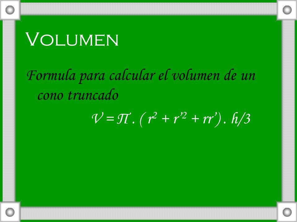 Volumen Formula para calcular el volumen de un cono truncado
