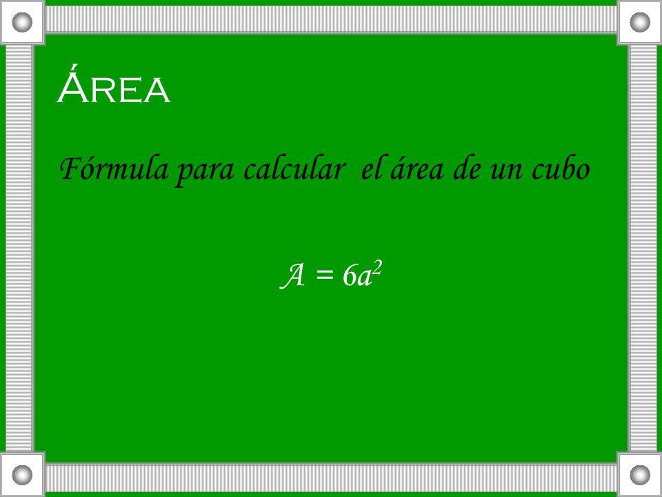 Área Fórmula para calcular el área de un cubo A = 6a2