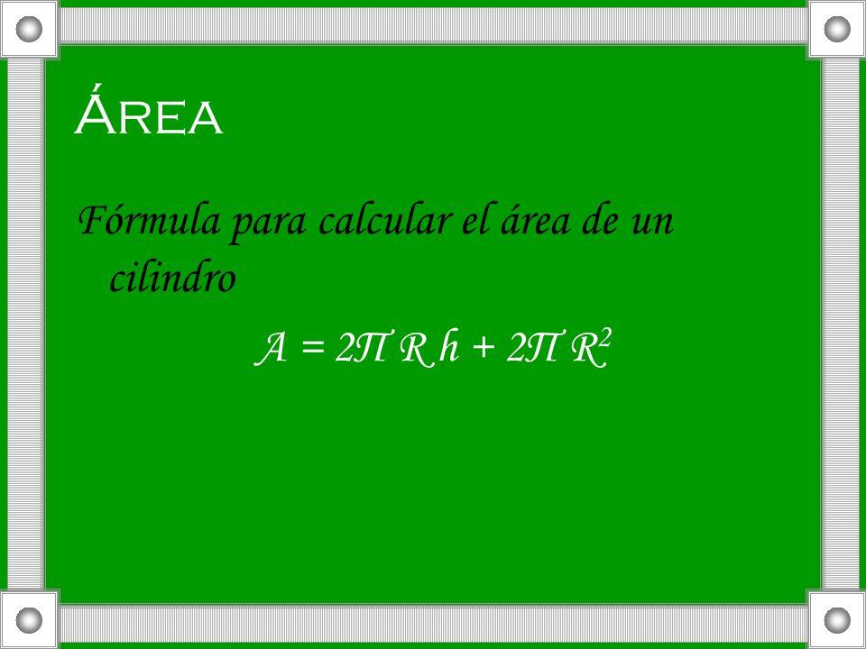 Área Fórmula para calcular el área de un cilindro A = 2П R h + 2Π R2