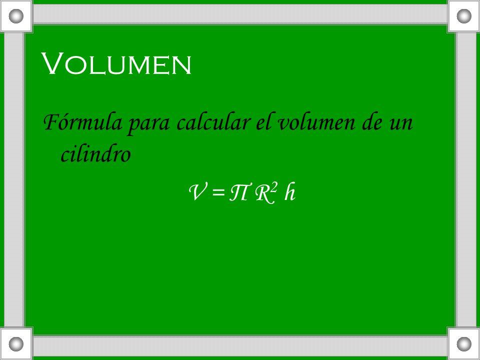 Volumen Fórmula para calcular el volumen de un cilindro V = П R2 h