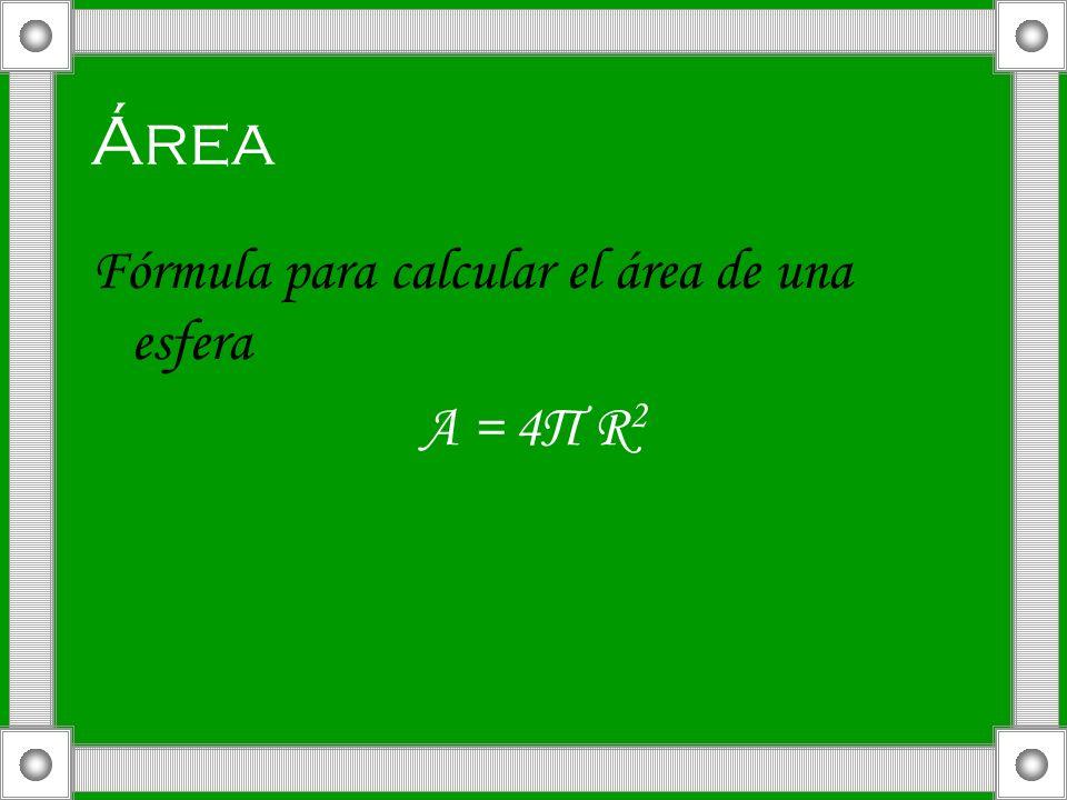 Área Fórmula para calcular el área de una esfera A = 4П R2
