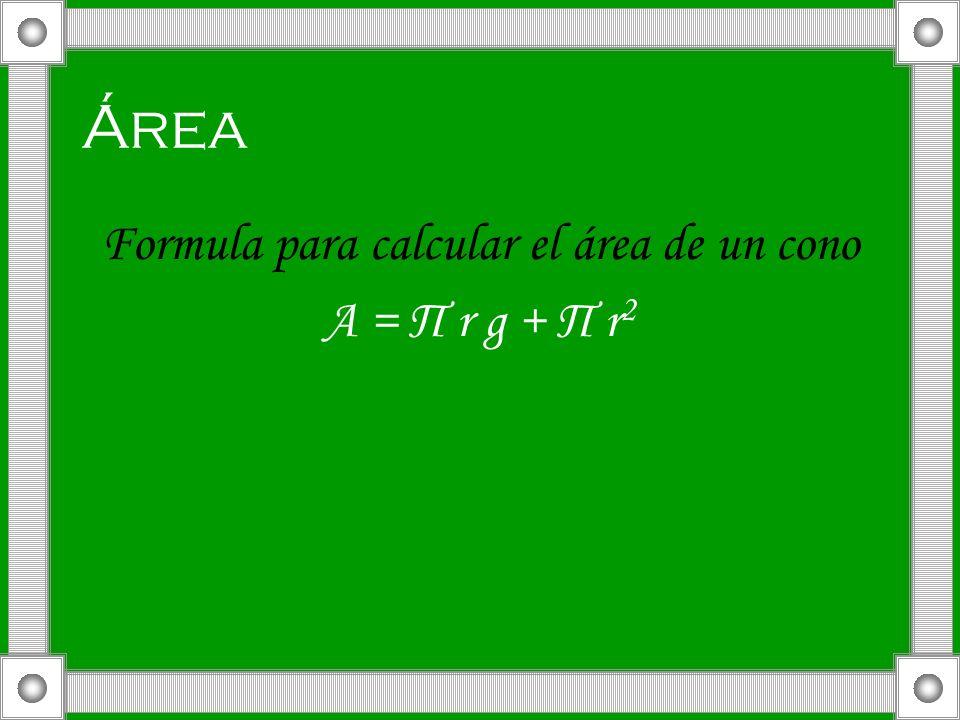 Formula para calcular el área de un cono