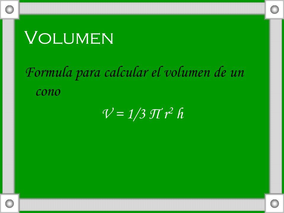 Volumen Formula para calcular el volumen de un cono V = 1/3 П r2 h