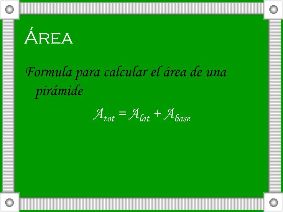 Área Formula para calcular el área de una pirámide Atot = Alat + Abase