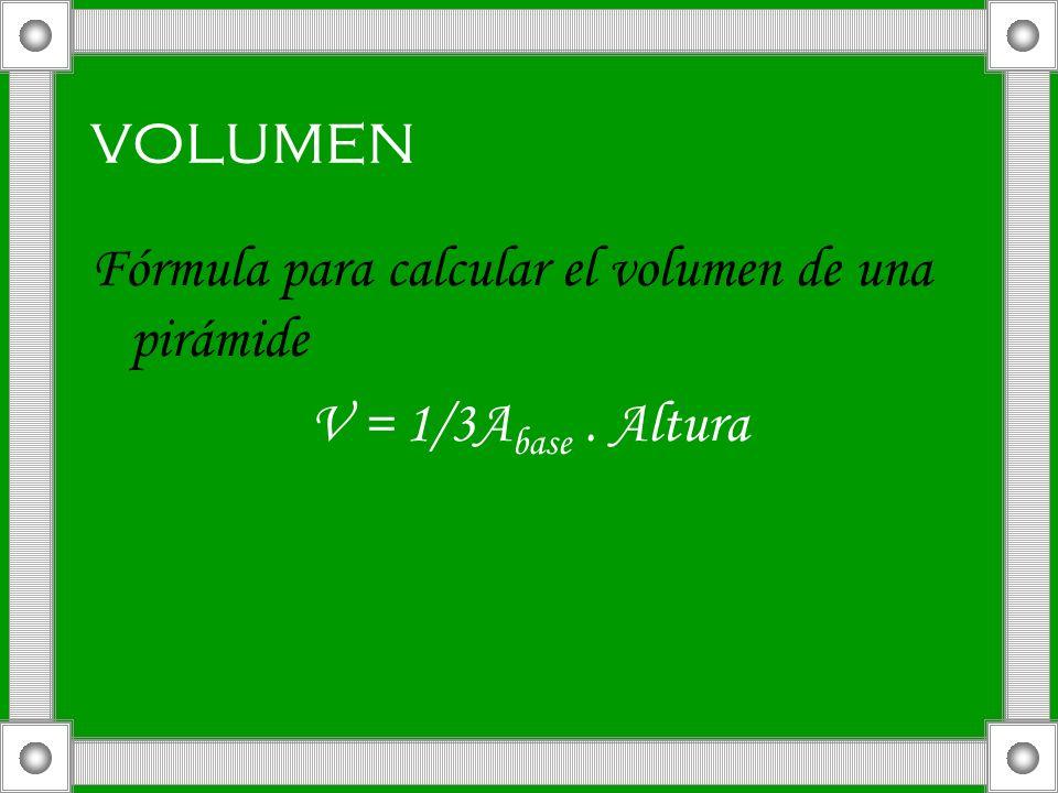 volumen Fórmula para calcular el volumen de una pirámide