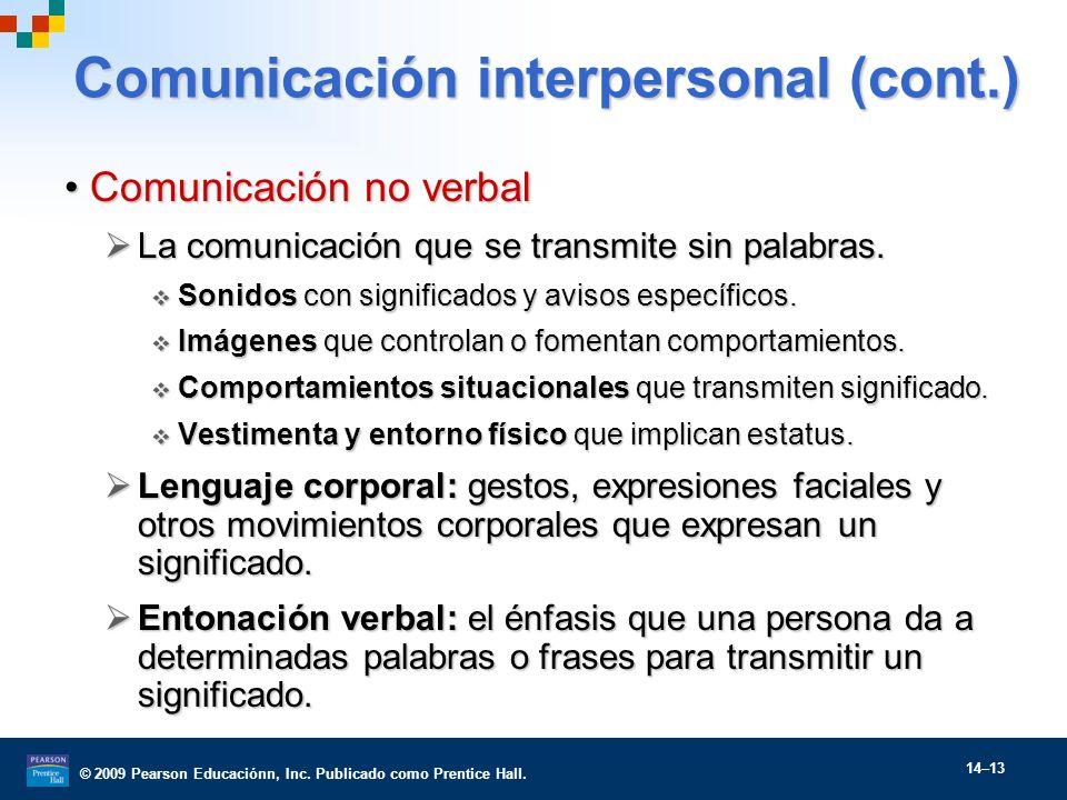 Comunicación interpersonal (cont.)