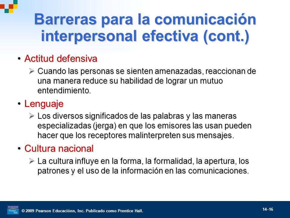 Barreras para la comunicación interpersonal efectiva (cont.)