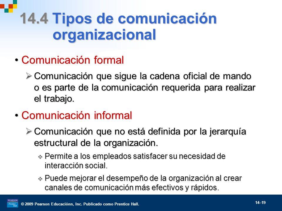 14.4 Tipos de comunicación organizacional