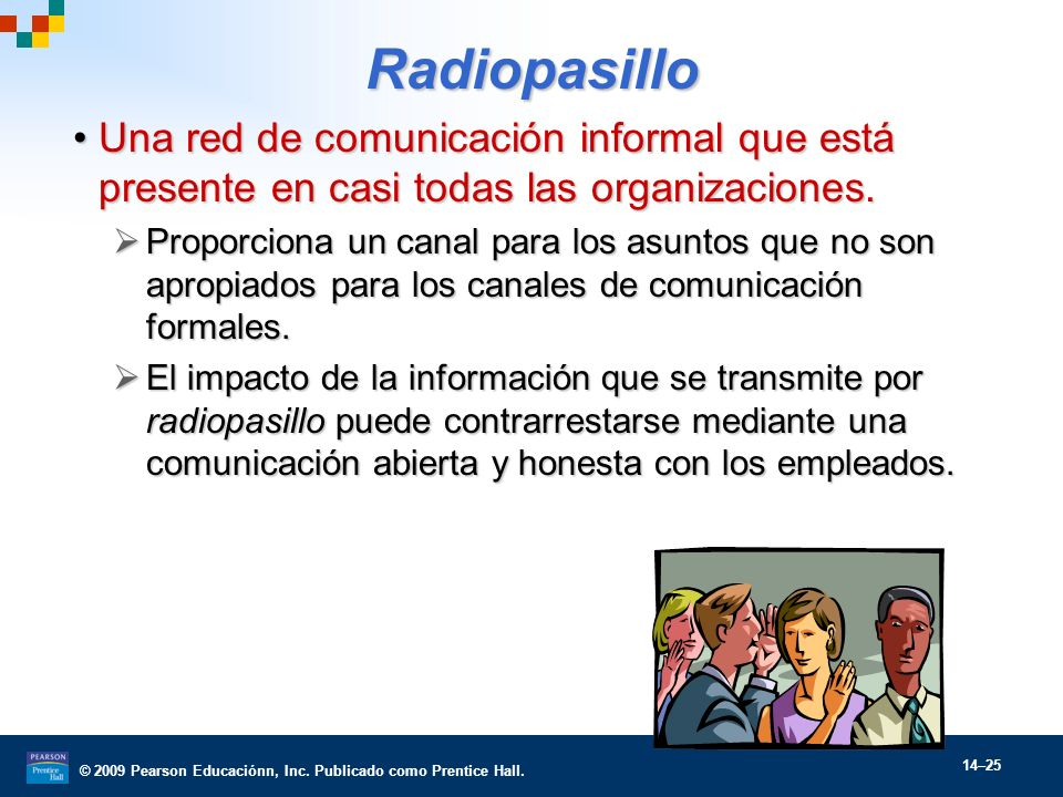 Radiopasillo Una red de comunicación informal que está presente en casi todas las organizaciones.