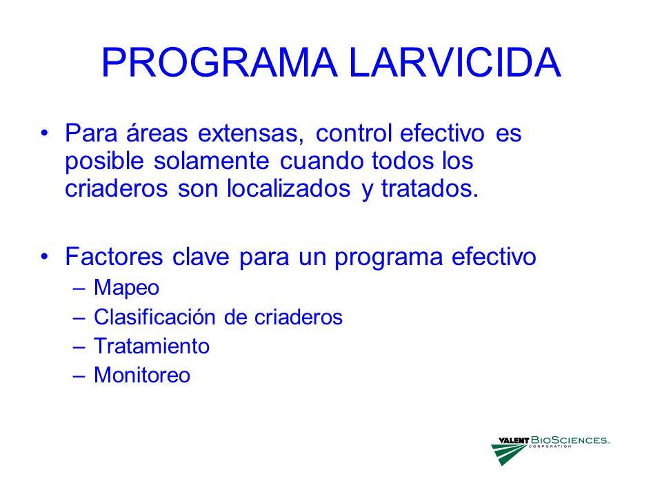 PROGRAMA LARVICIDAPara áreas extensas, control efectivo es posible solamente cuando todos los criaderos son localizados y tratados.