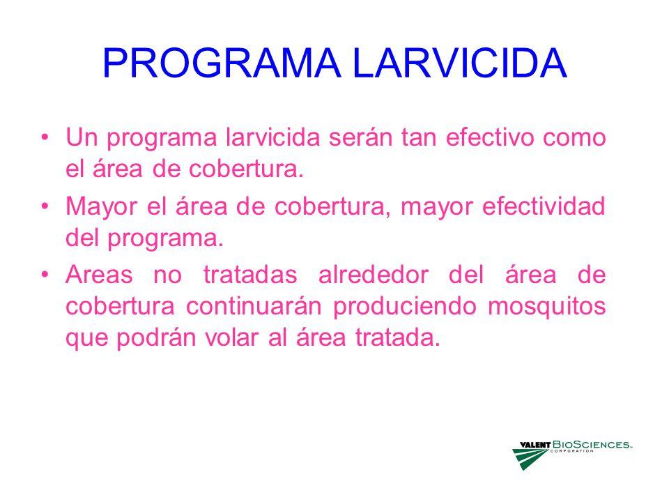 PROGRAMA LARVICIDAUn programa larvicida serán tan efectivo como el área de cobertura. Mayor el área de cobertura, mayor efectividad del programa.