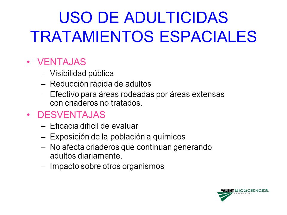 USO DE ADULTICIDAS TRATAMIENTOS ESPACIALES