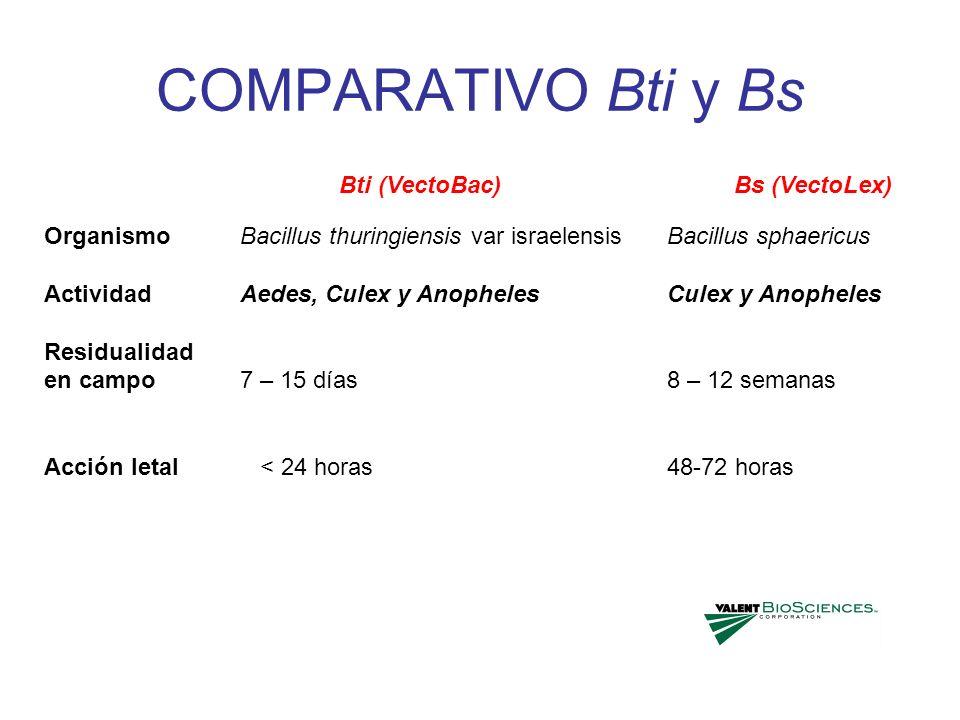 COMPARATIVO Bti y Bs Bti (VectoBac) Bs (VectoLex) Organismo Actividad