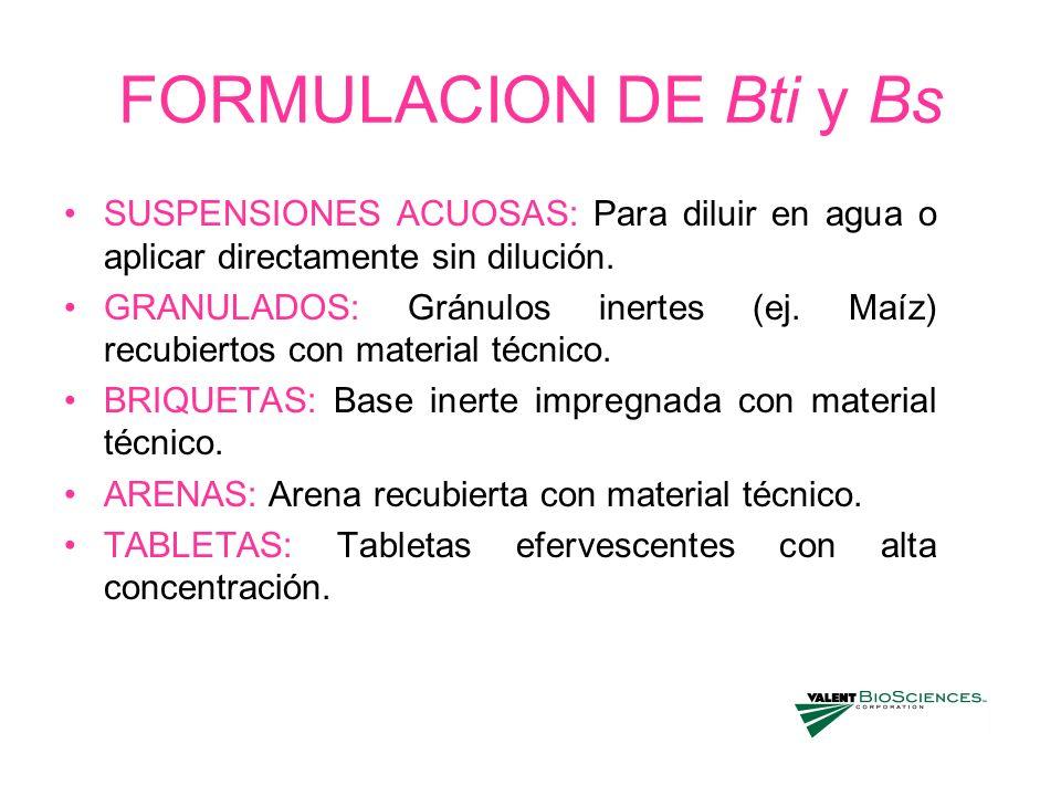 FORMULACION DE Bti y BsSUSPENSIONES ACUOSAS: Para diluir en agua o aplicar directamente sin dilución.