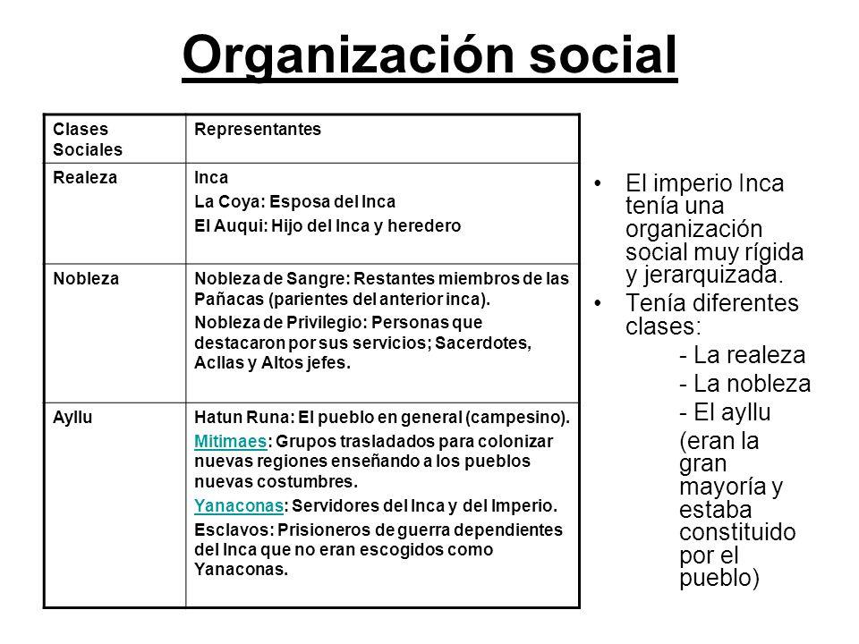 Organización social Clases Sociales. Representantes. Realeza. Inca. La Coya: Esposa del Inca. El Auqui: Hijo del Inca y heredero.