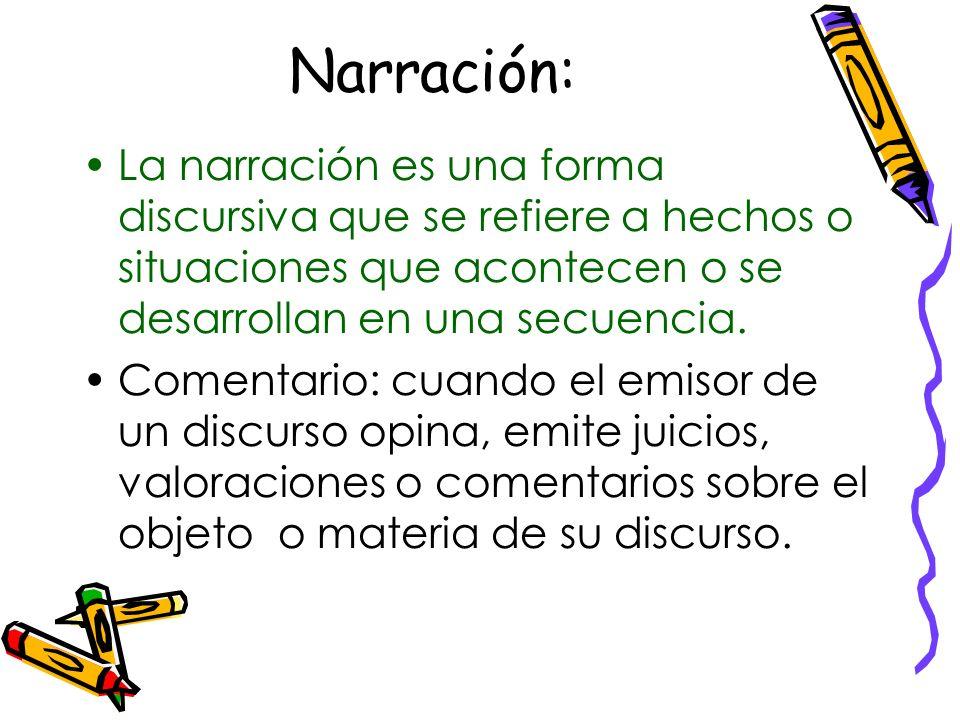 Narración: La narración es una forma discursiva que se refiere a hechos o situaciones que acontecen o se desarrollan en una secuencia.