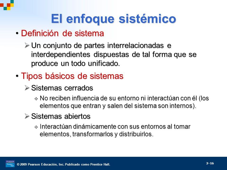 El enfoque sistémico Definición de sistema Tipos básicos de sistemas