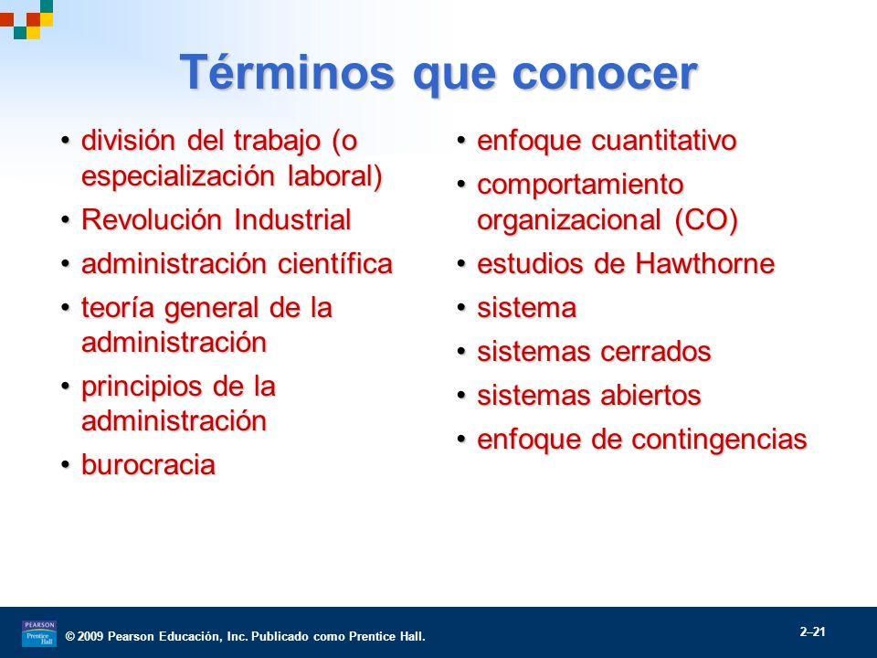 Términos que conocer división del trabajo (o especialización laboral)