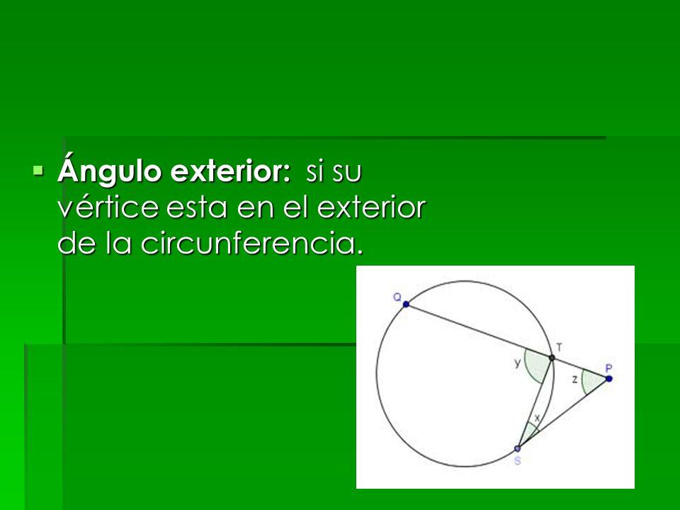 Ángulo exterior: si su vértice esta en el exterior de la circunferencia.