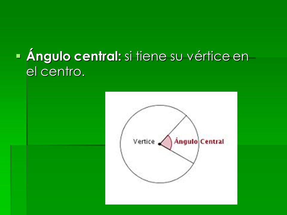 Ángulo central: si tiene su vértice en el centro.