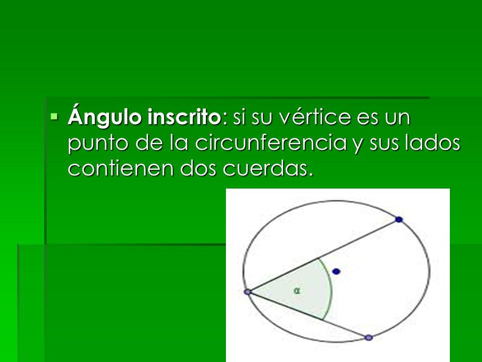 Ángulo inscrito: si su vértice es un punto de la circunferencia y sus lados contienen dos cuerdas.