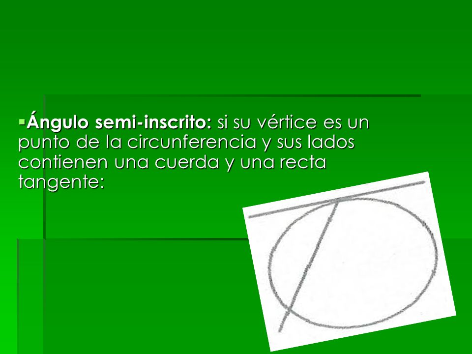 Ángulo semi-inscrito: si su vértice es un punto de la circunferencia y sus lados contienen una cuerda y una recta tangente: