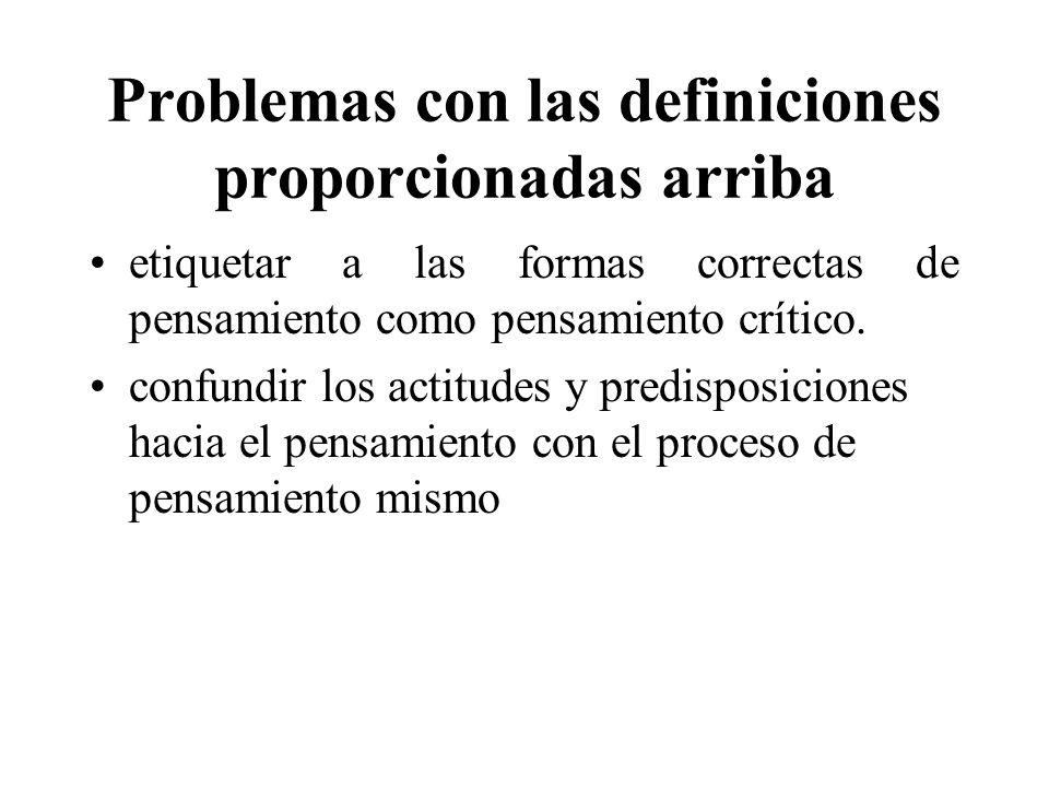 Problemas con las definiciones proporcionadas arriba