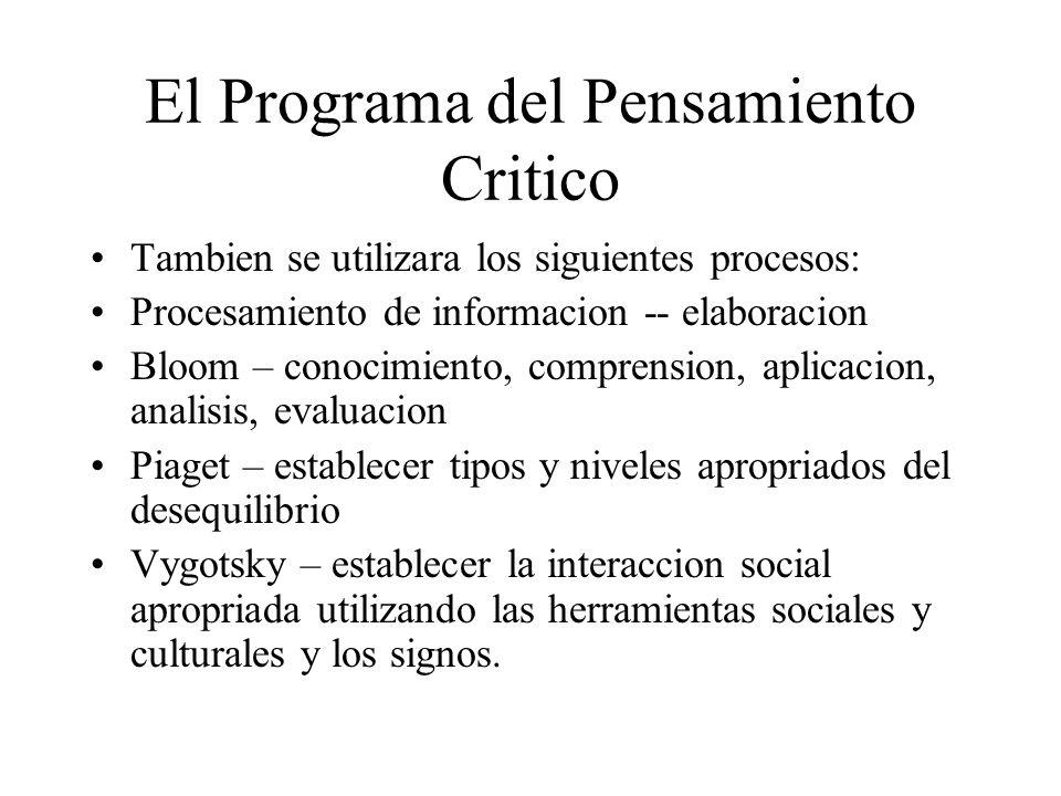 El Programa del Pensamiento Critico