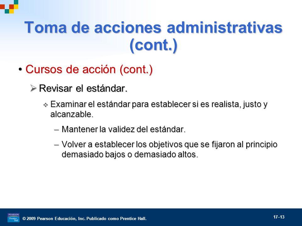 Toma de acciones administrativas (cont.)