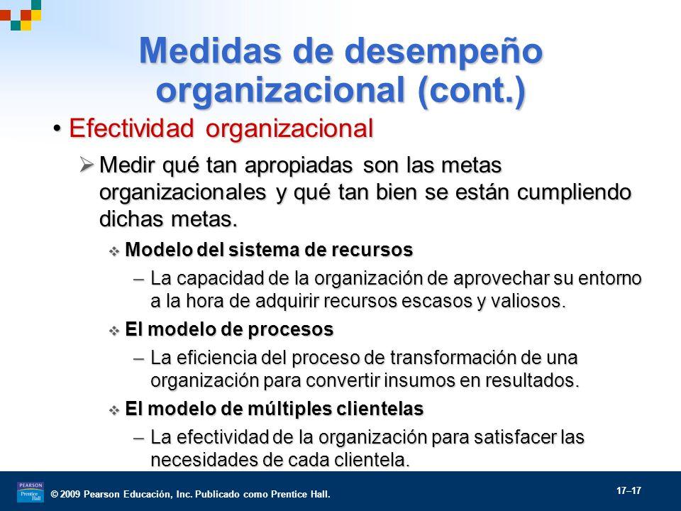 Medidas de desempeño organizacional (cont.)