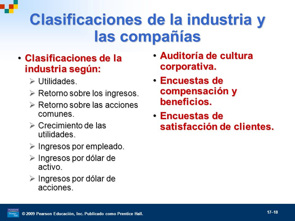 Clasificaciones de la industria y las compañías